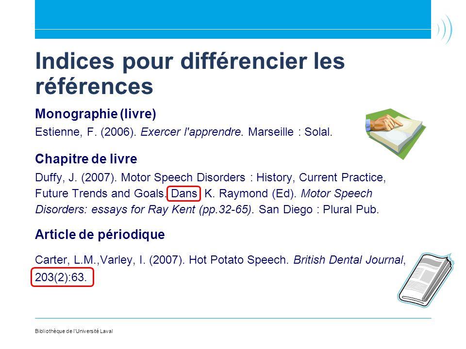 Indices pour différencier les références Monographie (livre) Estienne, F. (2006). Exercer l'apprendre. Marseille : Solal. Chapitre de livre Duffy, J.