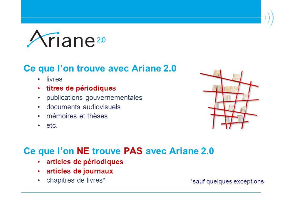 Ce que lon trouve avec Ariane 2.0 livres titres de périodiques publications gouvernementales documents audiovisuels mémoires et thèses etc. Ce que lon