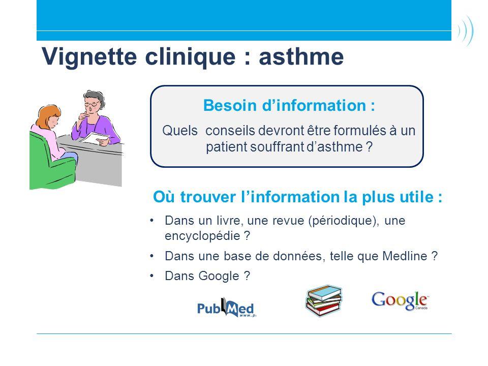 Vignette clinique : asthme Où trouver linformation la plus utile : Dans un livre, une revue (périodique), une encyclopédie ? Dans une base de données,