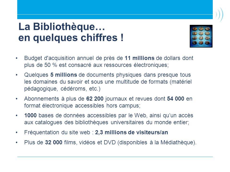 Budget d'acquisition annuel de près de 11 millions de dollars dont plus de 50 % est consacré aux ressources électroniques; Quelques 5 millions de docu
