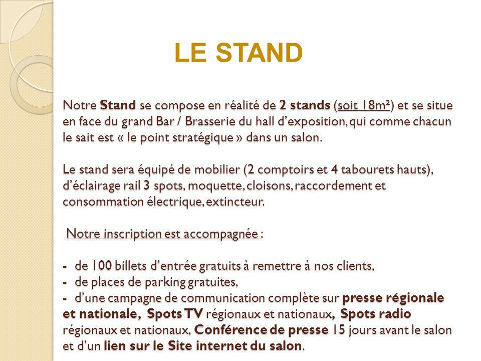 Notre Stand se compose en réalité de 2 stands (soit 18m²) et se situe en face du grand Bar / Brasserie du hall dexposition, qui comme chacun le sait est « le point stratégique » dans un salon.