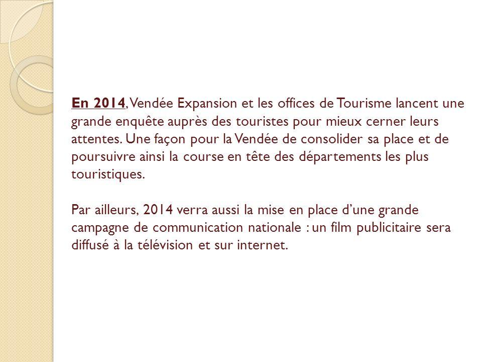 En 2014, Vendée Expansion et les offices de Tourisme lancent une grande enquête auprès des touristes pour mieux cerner leurs attentes.