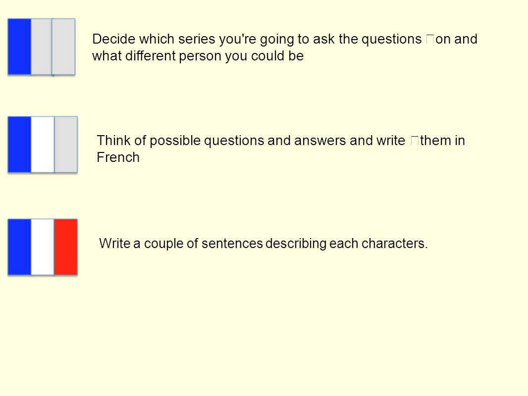 Decide which series you're going to ask the questions on and what different person you could be Think of possible questions and answers and write them