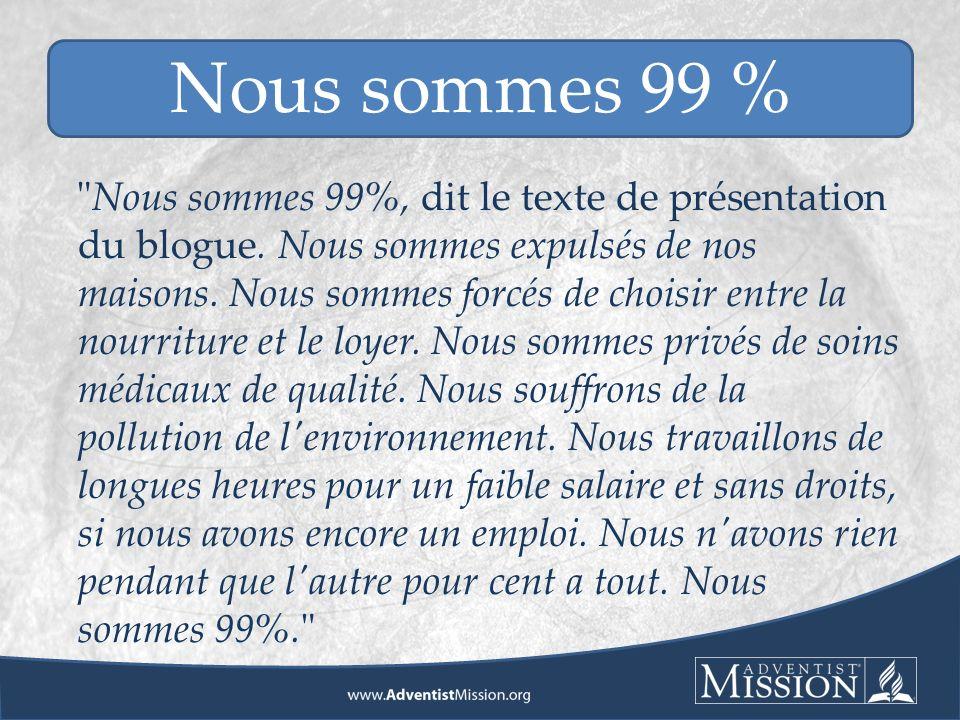 Nous sommes 99%, dit le texte de présentation du blogue.