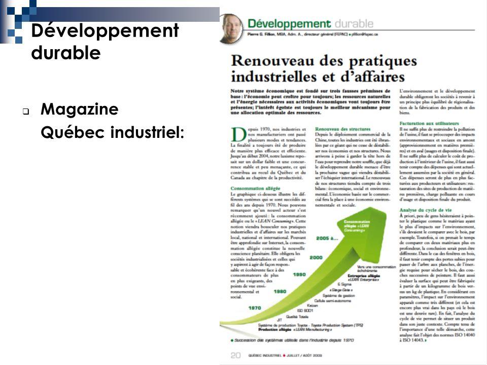 10 Développement durable Magazine Québec industriel: