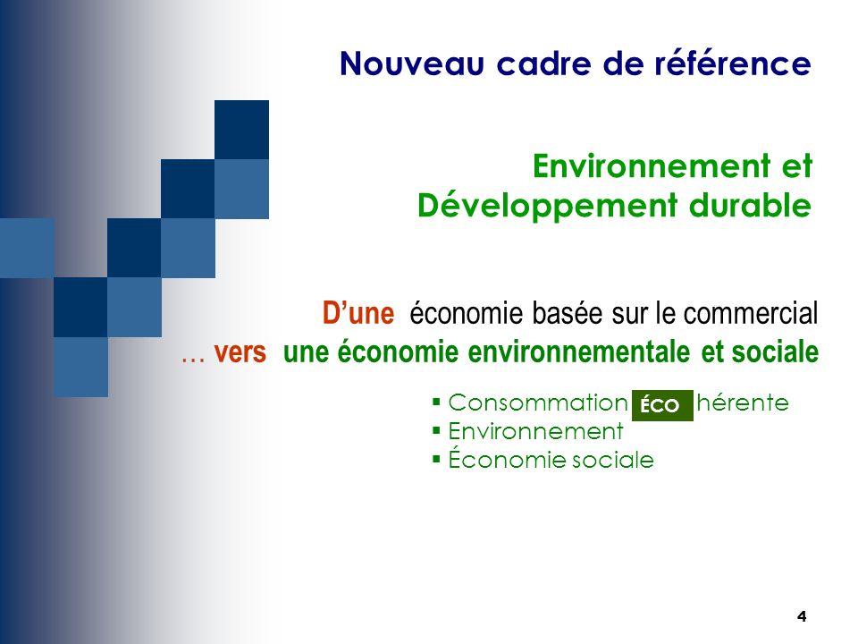 4 Environnement et Développement durable Dune économie basée sur le commercial … vers une économie environnementale et sociale Consommation hérente Environnement Économie sociale ÉCO Nouveau cadre de référence