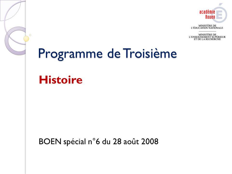 Programme de Troisième Histoire BOEN spécial n°6 du 28 août 2008