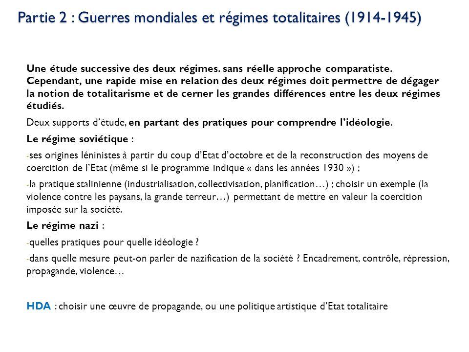 Partie 2 : Guerres mondiales et régimes totalitaires (1914-1945) Une étude successive des deux régimes. sans réelle approche comparatiste. Cependant,