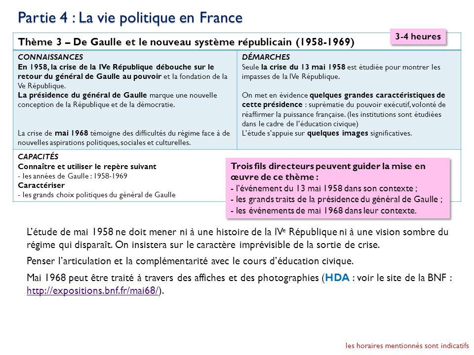 Thème 3 – De Gaulle et le nouveau système républicain (1958-1969) CONNAISSANCES En 1958, la crise de la IVe République débouche sur le retour du génér