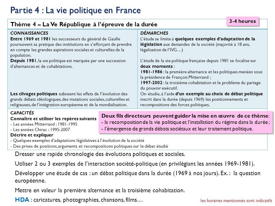 Thème 4 – La Ve République à lépreuve de la durée CONNAISSANCES Entre 1969 et 1981 les successeurs du général de Gaulle poursuivent sa pratique des in