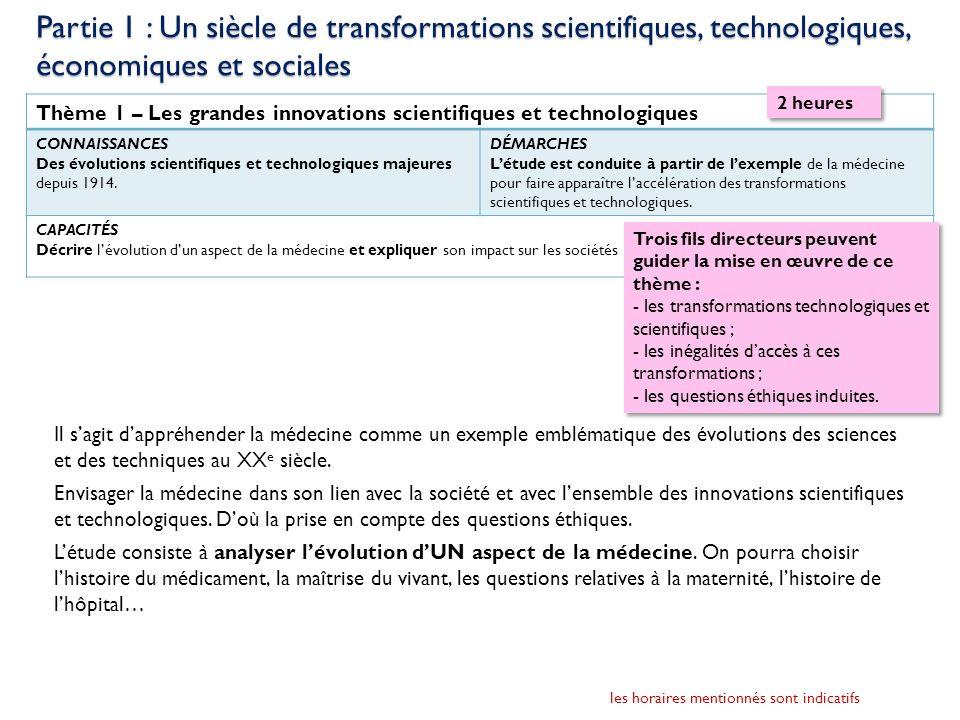 Thème 1 – Les grandes innovations scientifiques et technologiques CONNAISSANCES Des évolutions scientifiques et technologiques majeures depuis 1914. D
