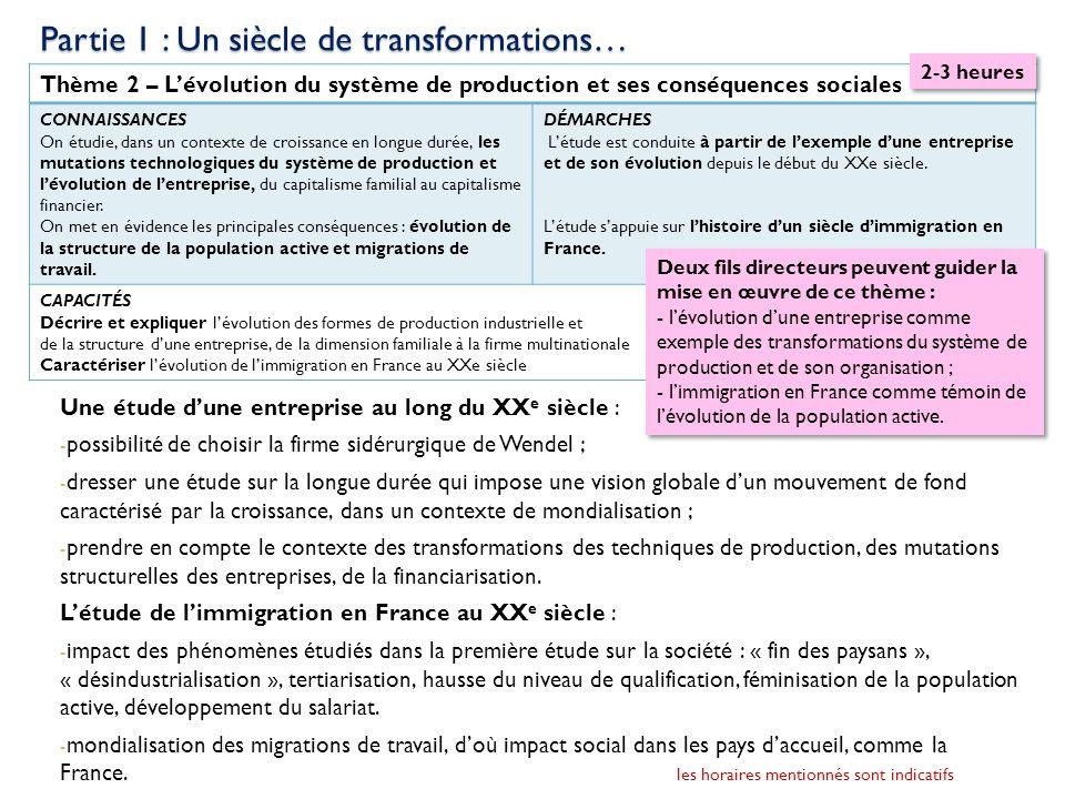 Thème 2 – Lévolution du système de production et ses conséquences sociales CONNAISSANCES On étudie, dans un contexte de croissance en longue durée, le