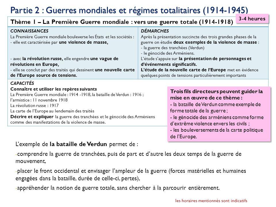 Partie 2 : Guerres mondiales et régimes totalitaires (1914-1945) Le génocide des Arméniens ouvre sur lextrême violence faite aux civils et sur les multiples espaces de la guerre.