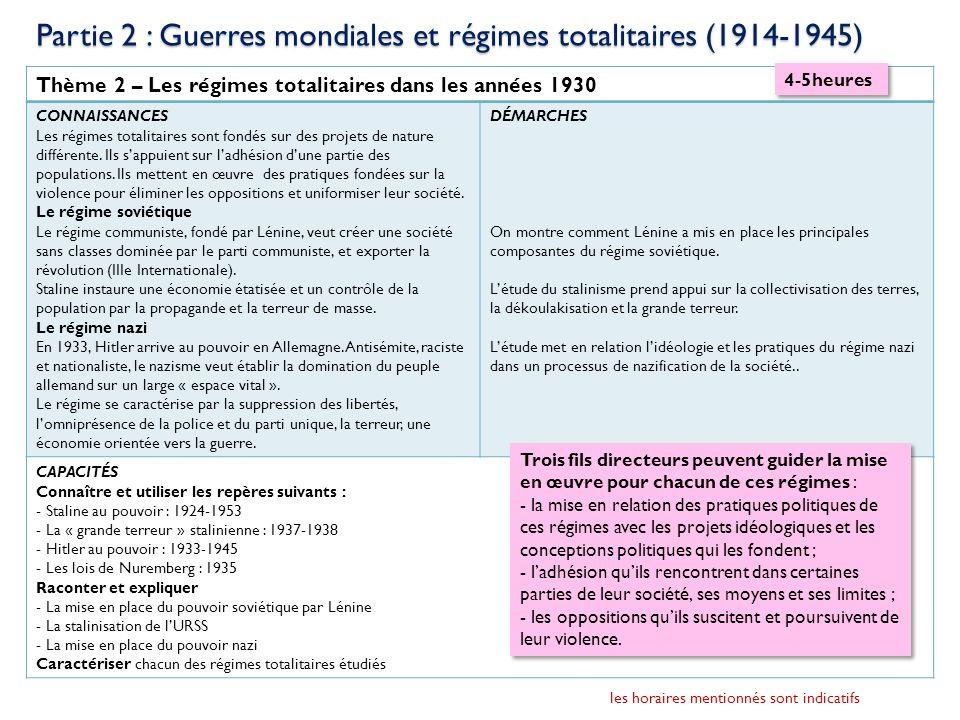 Thème 2 – Les régimes totalitaires dans les années 1930 CONNAISSANCES Les régimes totalitaires sont fondés sur des projets de nature différente. Ils s