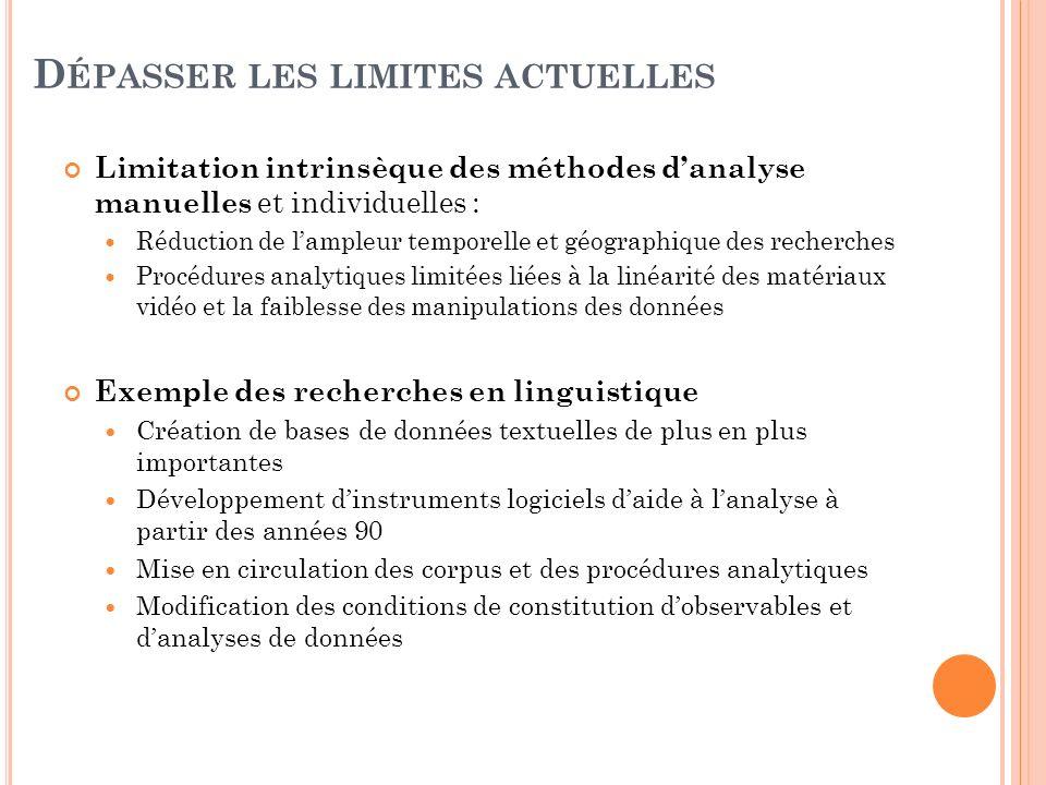 D ÉPASSER LES LIMITES ACTUELLES Limitation intrinsèque des méthodes danalyse manuelles et individuelles : Réduction de lampleur temporelle et géograph