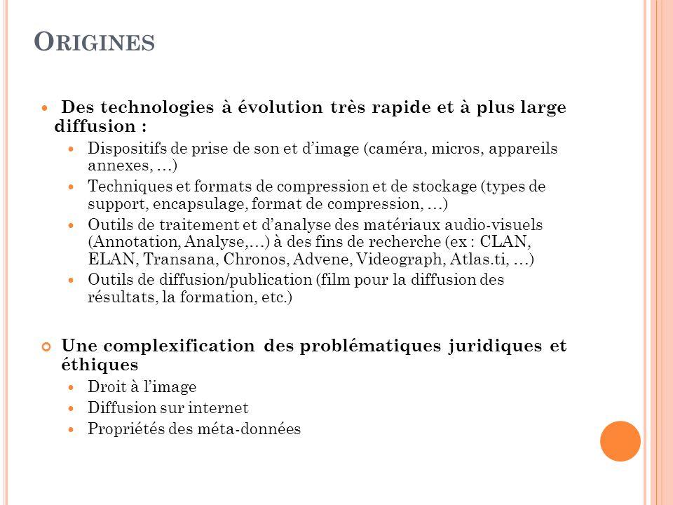 O RIGINES Des technologies à évolution très rapide et à plus large diffusion : Dispositifs de prise de son et dimage (caméra, micros, appareils annexe