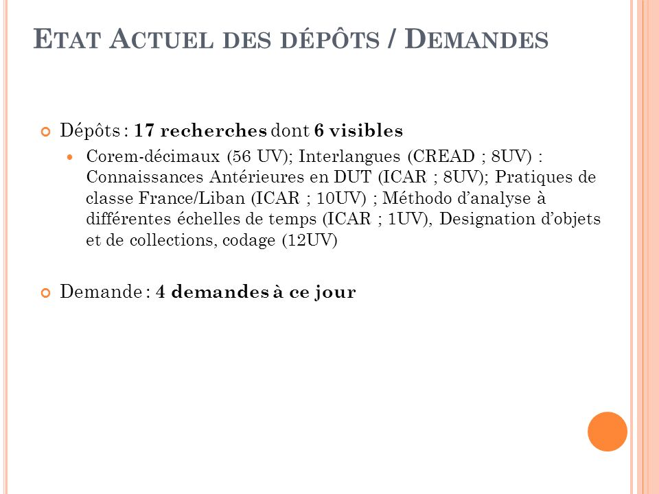 E TAT A CTUEL DES DÉPÔTS / D EMANDES Dépôts : 17 recherches dont 6 visibles Corem-décimaux (56 UV); Interlangues (CREAD ; 8UV) : Connaissances Antérieures en DUT (ICAR ; 8UV); Pratiques de classe France/Liban (ICAR ; 10UV) ; Méthodo danalyse à différentes échelles de temps (ICAR ; 1UV), Designation dobjets et de collections, codage (12UV) Demande : 4 demandes à ce jour