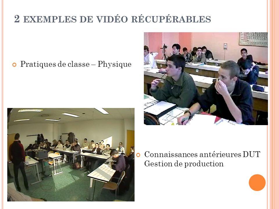2 EXEMPLES DE VIDÉO RÉCUPÉRABLES Pratiques de classe – Physique Connaissances antérieures DUT Gestion de production
