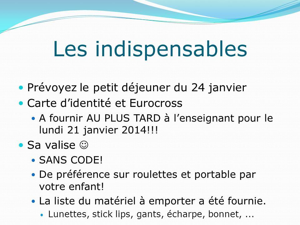 Prévoyez le petit déjeuner du 24 janvier Carte didentité et Eurocross A fournir AU PLUS TARD à lenseignant pour le lundi 21 janvier 2014!!! Sa valise
