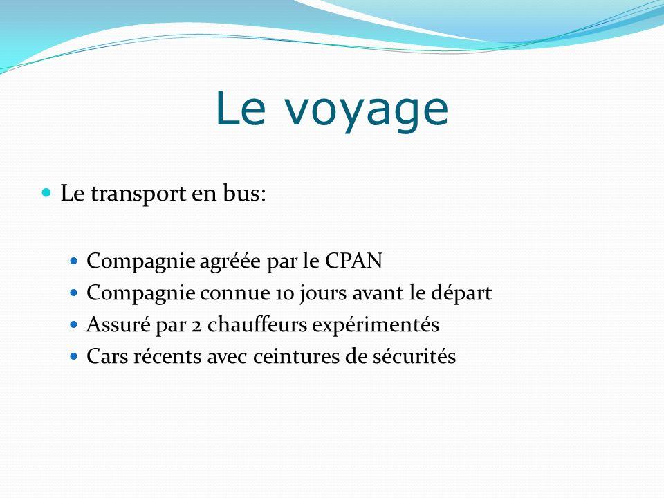 Le transport en bus: Compagnie agréée par le CPAN Compagnie connue 10 jours avant le départ Assuré par 2 chauffeurs expérimentés Cars récents avec cei