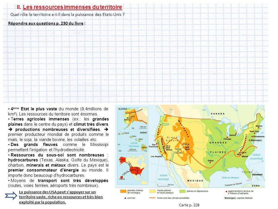 II.Les ressources immenses du territoire 4 ème Etat le plus vaste du monde (9,4millions de km²).