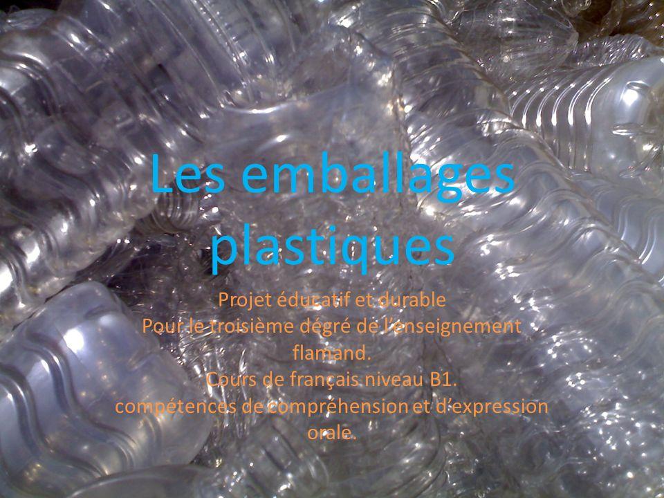 Les emballages plastiques Projet éducatif et durable Pour le troisième dégré de lenseignement flamand.