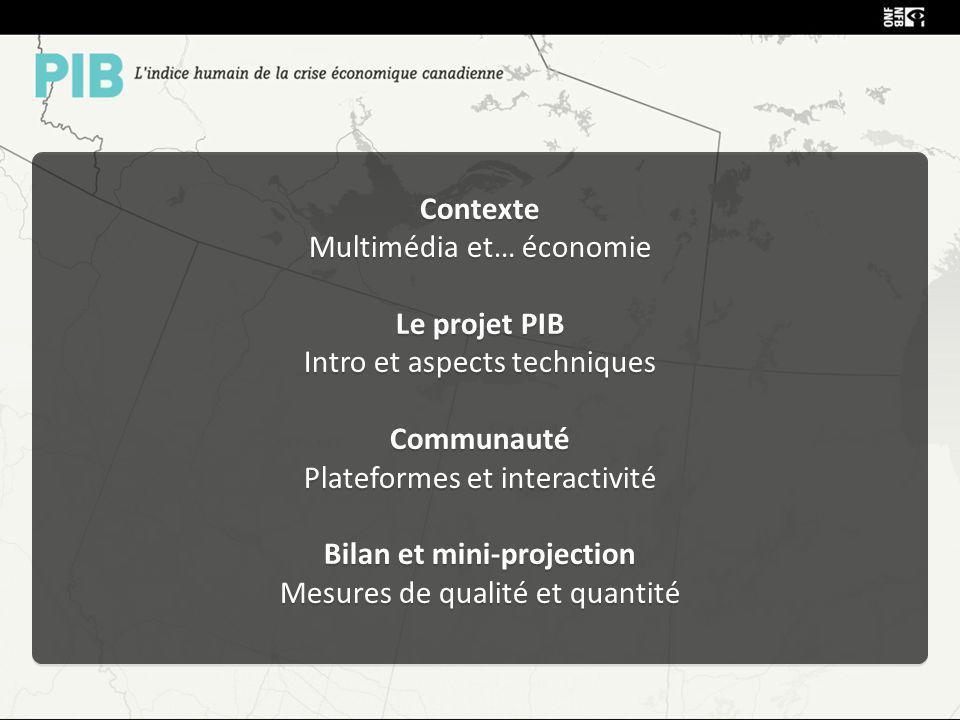 Contexte Multimédia et… économie Le projet PIB Intro et aspects techniques Communauté Plateformes et interactivité Bilan et mini-projection Mesures de