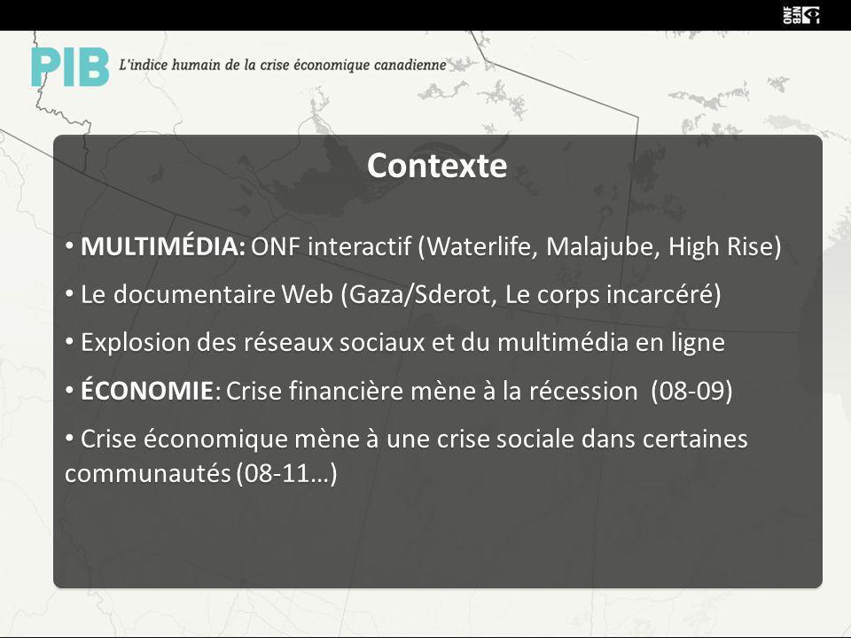 Contexte MULTIMÉDIA: ONF interactif (Waterlife, Malajube, High Rise) Le documentaire Web (Gaza/Sderot, Le corps incarcéré) Explosion des réseaux sociaux et du multimédia en ligne ÉCONOMIE: Crise financière mène à la récession (08-09) Crise économique mène à une crise sociale dans certaines communautés (08-11…) Contexte MULTIMÉDIA: ONF interactif (Waterlife, Malajube, High Rise) Le documentaire Web (Gaza/Sderot, Le corps incarcéré) Explosion des réseaux sociaux et du multimédia en ligne ÉCONOMIE: Crise financière mène à la récession (08-09) Crise économique mène à une crise sociale dans certaines communautés (08-11…)