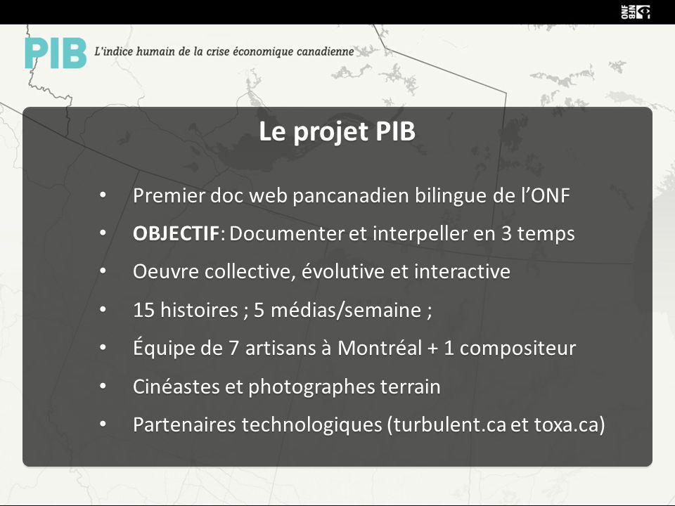 Le projet PIB Premier doc web pancanadien bilingue de lONF OBJECTIF: Documenter et interpeller en 3 temps Oeuvre collective, évolutive et interactive