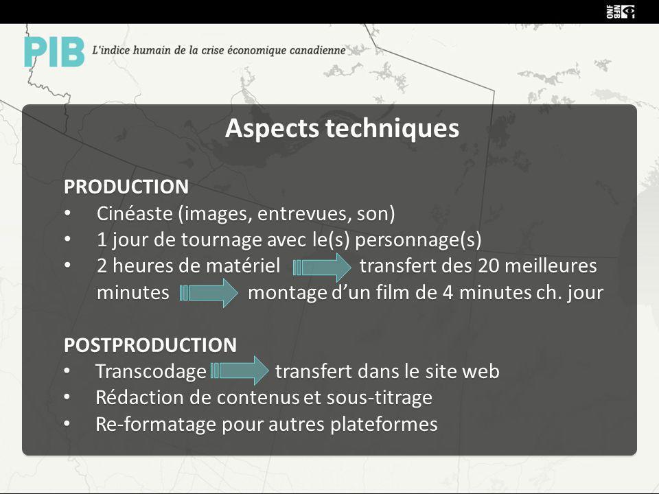 Aspects techniques PRODUCTION Cinéaste (images, entrevues, son) 1 jour de tournage avec le(s) personnage(s) 2 heures de matériel transfert des 20 meilleures minutes montage dun film de 4 minutes ch.
