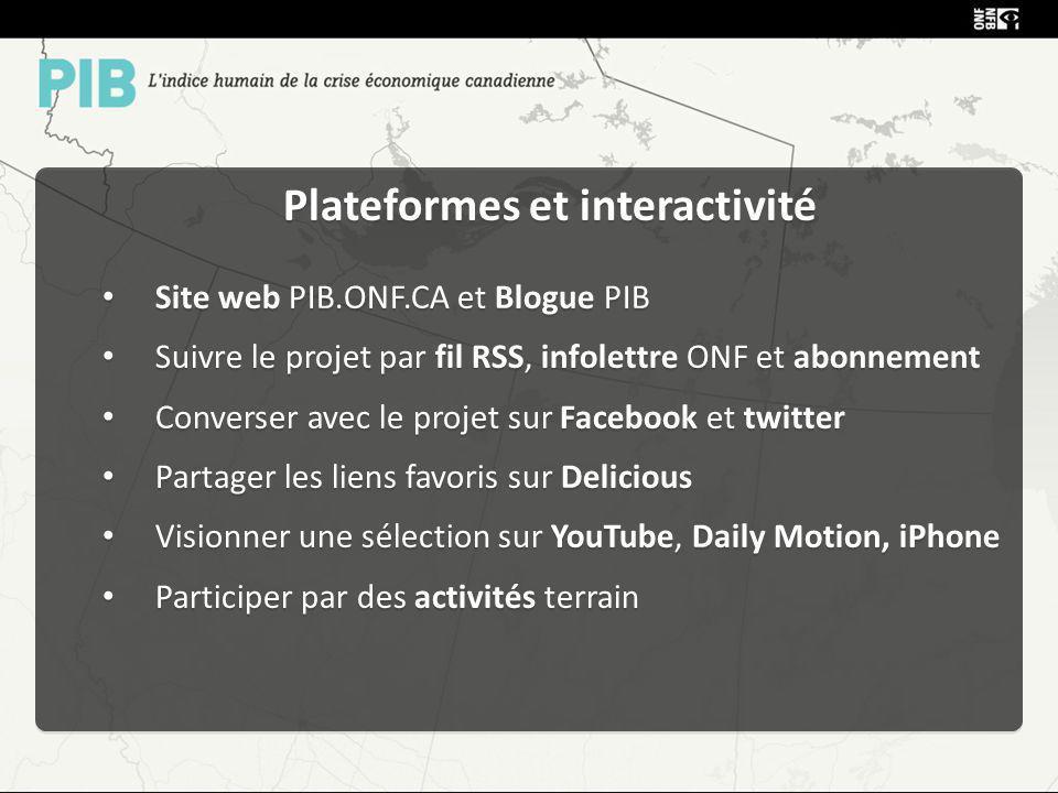 Plateformes et interactivité Site web PIB.ONF.CA et Blogue PIB Suivre le projet par fil RSS, infolettre ONF et abonnement Converser avec le projet sur