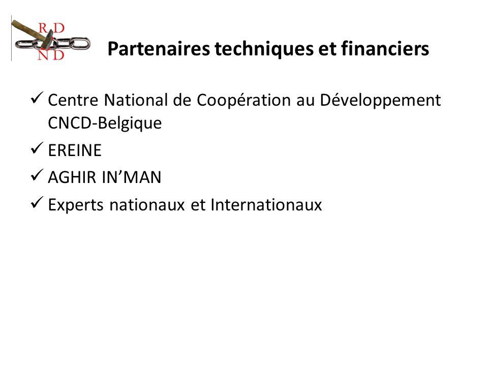 Partenaires techniques et financiers Centre National de Coopération au Développement CNCD-Belgique EREINE AGHIR INMAN Experts nationaux et Internation
