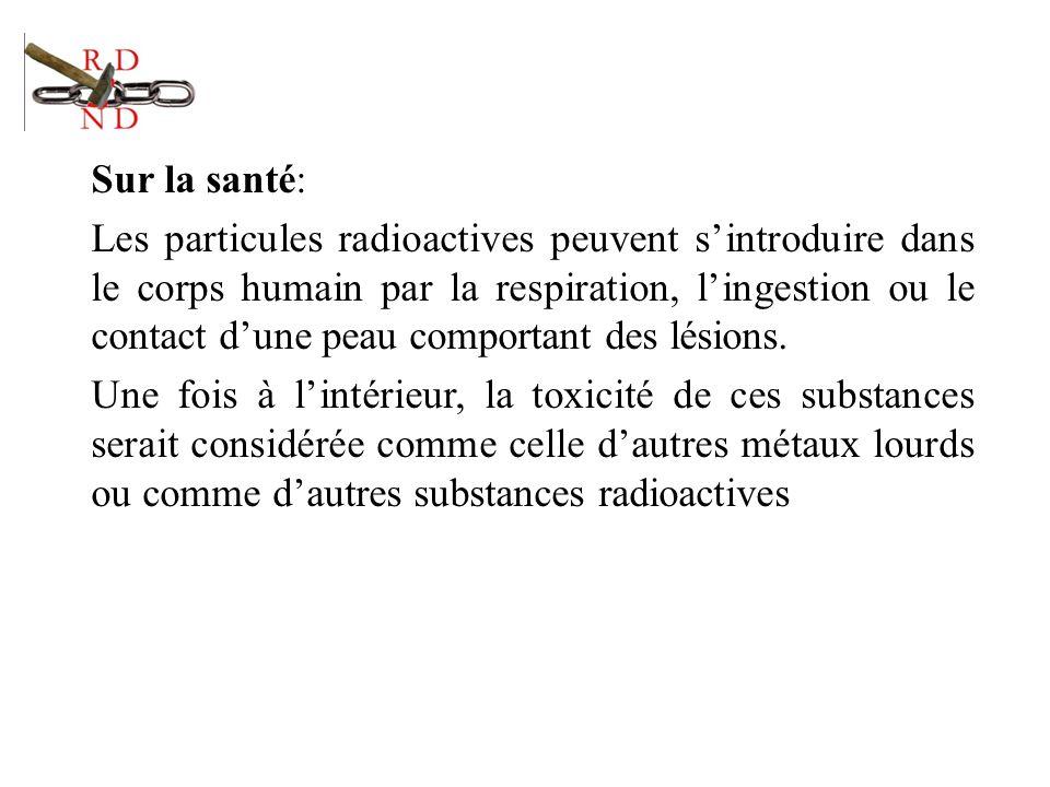 Sur la santé: Les particules radioactives peuvent sintroduire dans le corps humain par la respiration, lingestion ou le contact dune peau comportant d