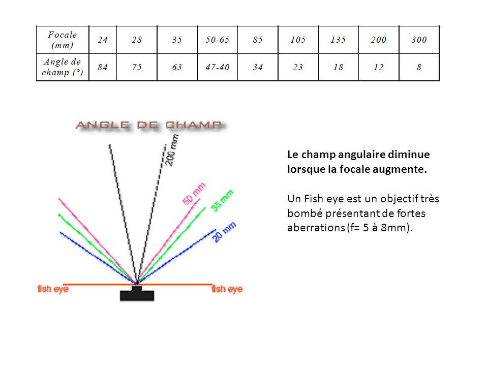 Le champ angulaire diminue lorsque la focale augmente. Un Fish eye est un objectif très bombé présentant de fortes aberrations (f= 5 à 8mm).