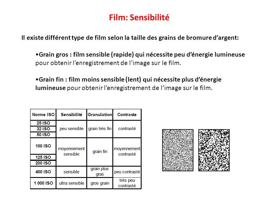Il existe différent type de film selon la taille des grains de bromure dargent: Grain gros : film sensible (rapide) qui nécessite peu dénergie lumineu