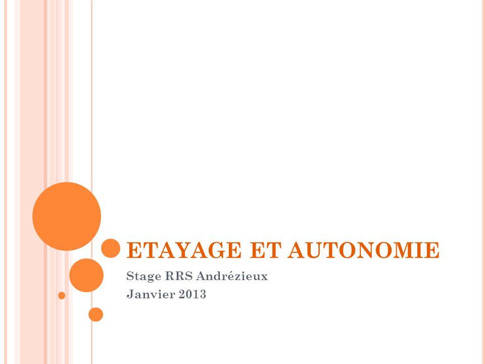 ETAYAGE ET AUTONOMIE Stage RRS Andrézieux Janvier 2013