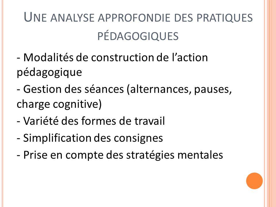 U NE ANALYSE APPROFONDIE DES PRATIQUES PÉDAGOGIQUES - Modalités de construction de laction pédagogique - Gestion des séances (alternances, pauses, cha