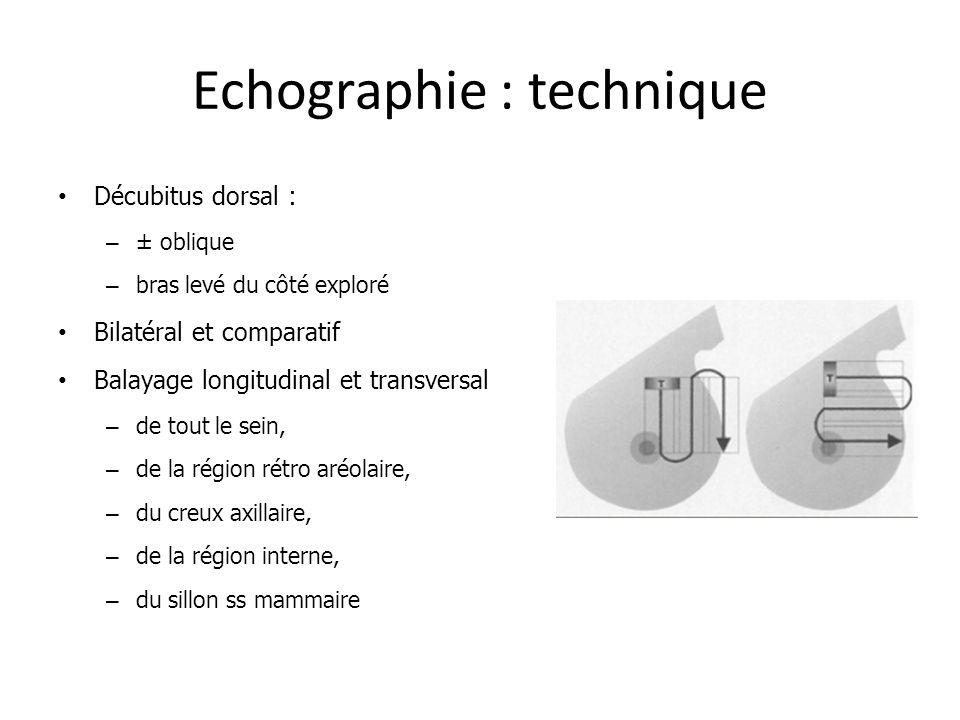 Echographie : technique Décubitus dorsal : – ± oblique – bras levé du côté exploré Bilatéral et comparatif Balayage longitudinal et transversal – de t