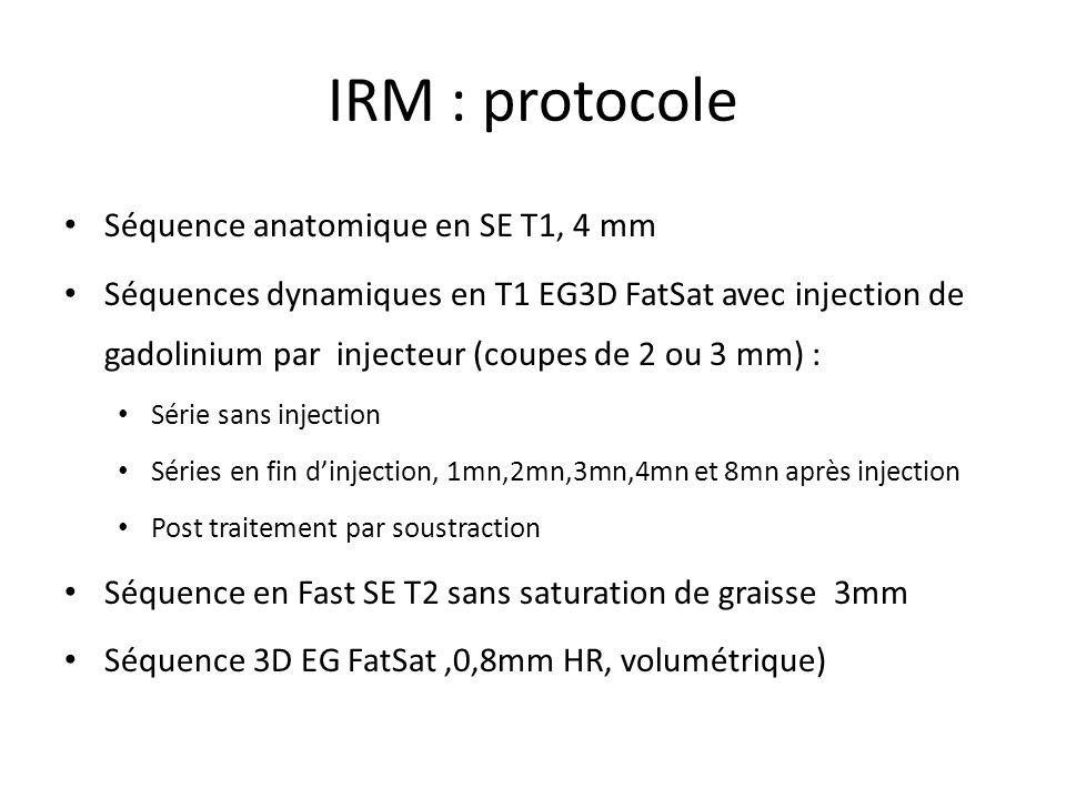 IRM : protocole Séquence anatomique en SE T1, 4 mm Séquences dynamiques en T1 EG3D FatSat avec injection de gadolinium par injecteur (coupes de 2 ou 3