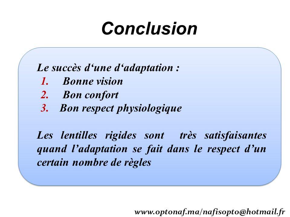 Conclusion Le succès dune dadaptation : 1. Bonne vision 2. Bon confort 3. Bon respect physiologique Les lentilles rigides sont très satisfaisantes qua