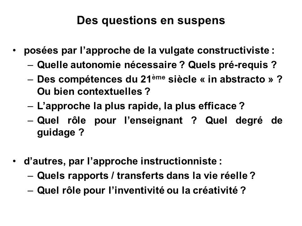 Des questions en suspens posées par lapproche de la vulgate constructiviste : –Quelle autonomie nécessaire ? Quels pré-requis ? –Des compétences du 21