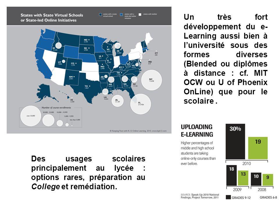 Un très fort développement du e- Learning aussi bien à luniversité sous des formes diverses (Blended ou diplômes à distance : cf. MIT OCW ou U of Phoe