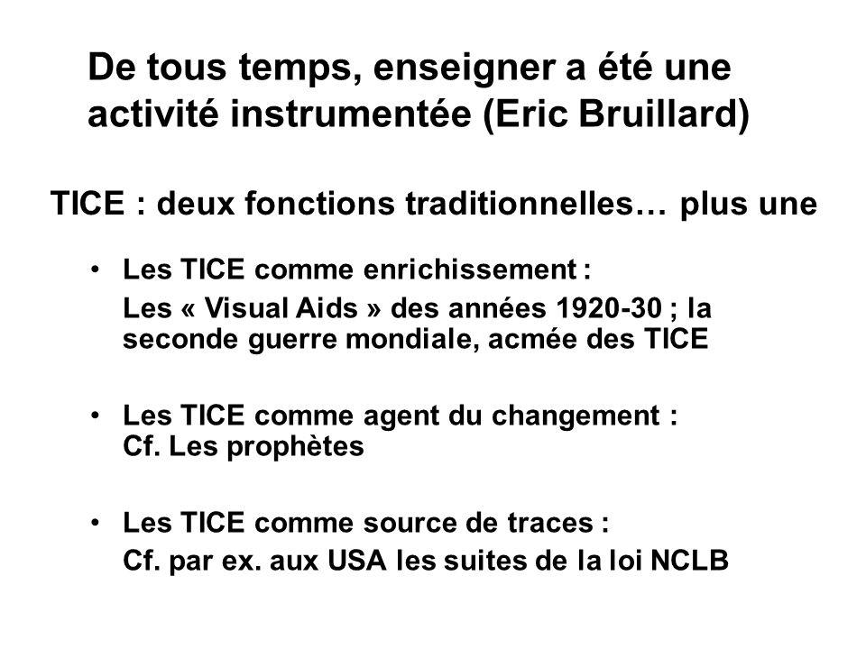 TICE : deux fonctions traditionnelles… plus une Les TICE comme enrichissement : Les « Visual Aids » des années 1920-30 ; la seconde guerre mondiale, acmée des TICE Les TICE comme agent du changement : Cf.