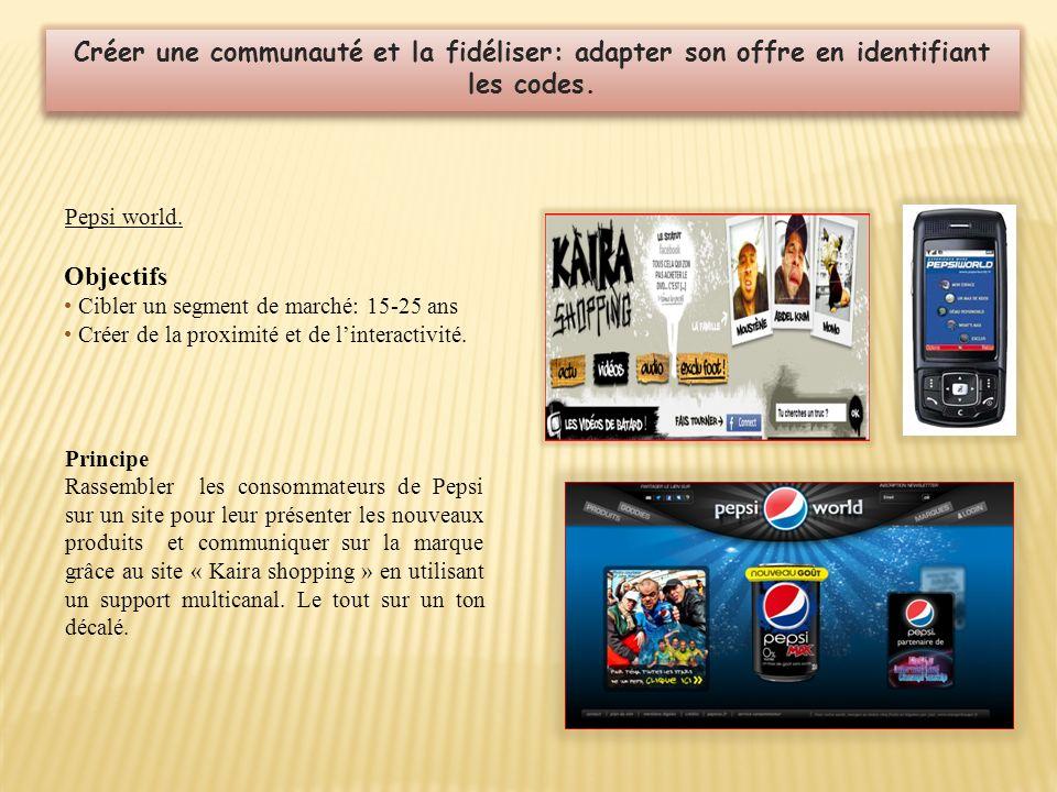 Pepsi world. Créer une communauté et la fidéliser: adapter son offre en identifiant les codes. Objectifs Cibler un segment de marché: 15-25 ans Créer