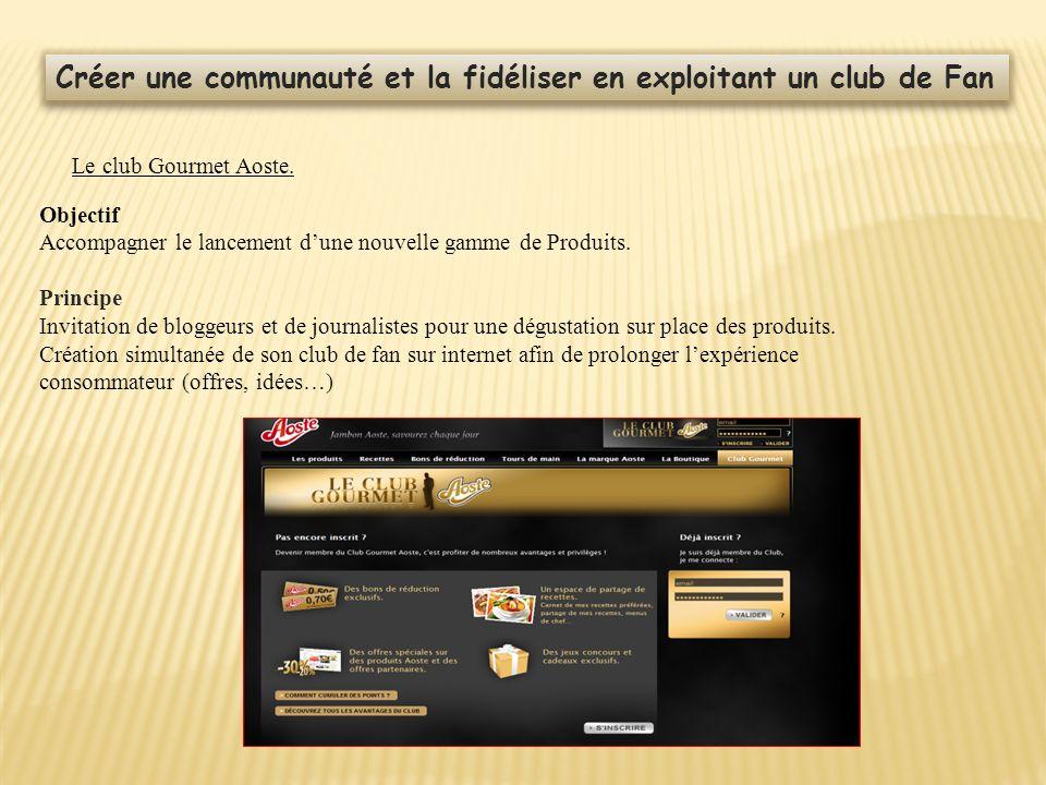 Créer une communauté et la fidéliser en exploitant un club de Fan Le club Gourmet Aoste. Objectif Accompagner le lancement dune nouvelle gamme de Prod
