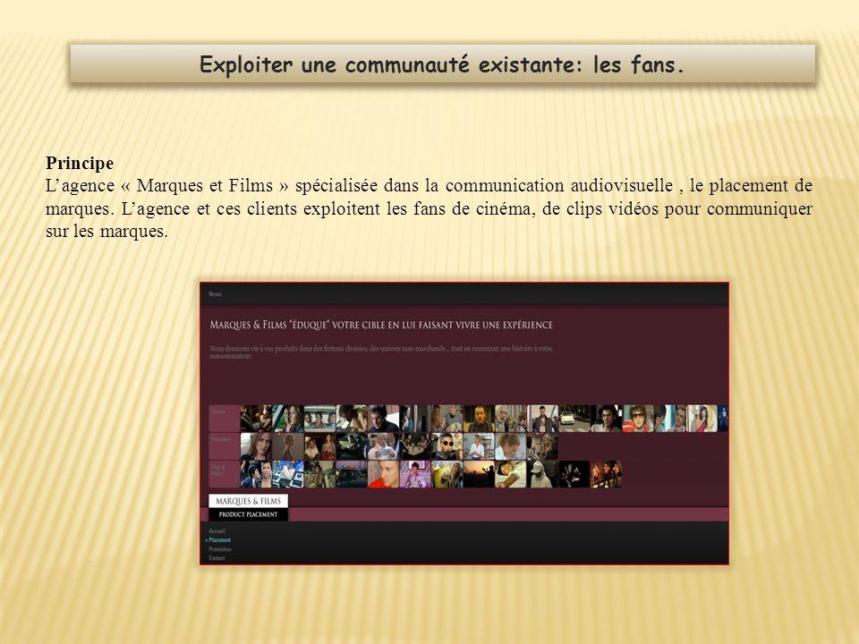 Principe Lagence « Marques et Films » spécialisée dans la communication audiovisuelle, le placement de marques. Lagence et ces clients exploitent les