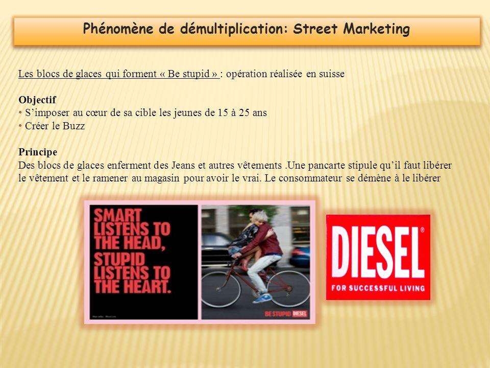 Phénomène de démultiplication: Street Marketing Les blocs de glaces qui forment « Be stupid » : opération réalisée en suisse Objectif Simposer au cœur