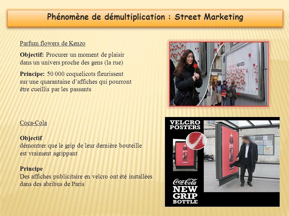 Phénomène de démultiplication : Street Marketing Parfum flowers de Kenzo Objectif: Procurer un moment de plaisir dans un univers proche des gens (la r
