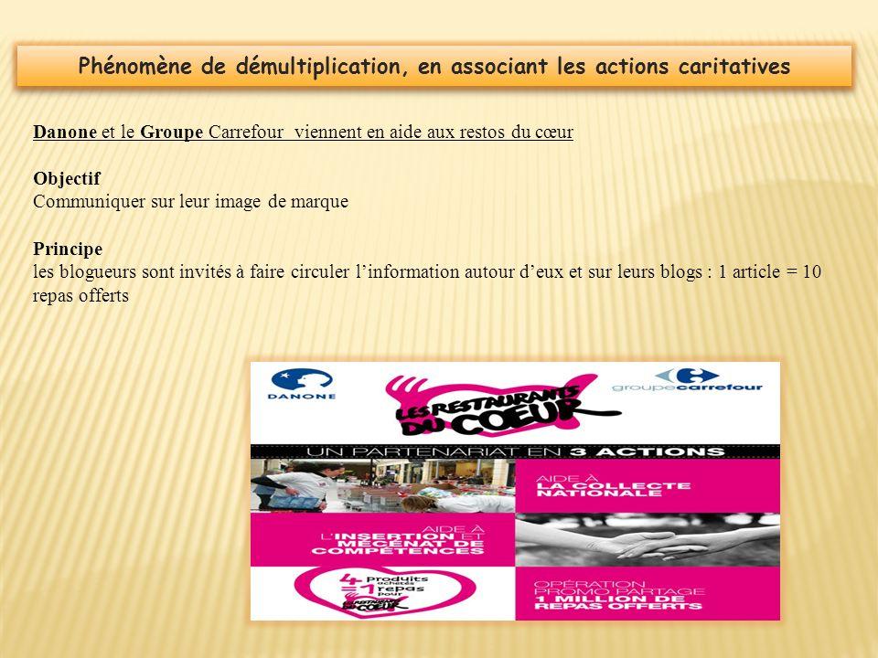 Phénomène de démultiplication, en associant les actions caritatives Danone et le Groupe Carrefour viennent en aide aux restos du cœur Objectif Communi