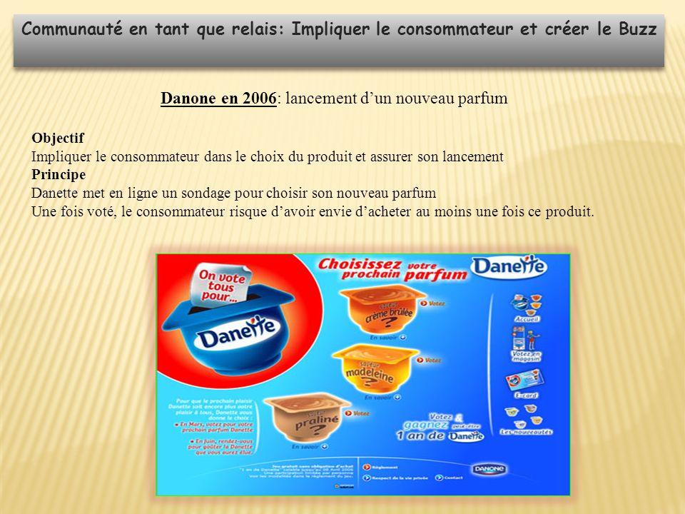 Communauté en tant que relais: Impliquer le consommateur et créer le Buzz Danone en 2006: lancement dun nouveau parfum Objectif Impliquer le consommat
